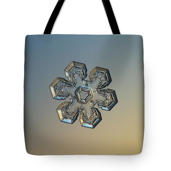 Tote Bag featuring the photograph Snowflake Photo - Massive Gold by Alexey Kljatov