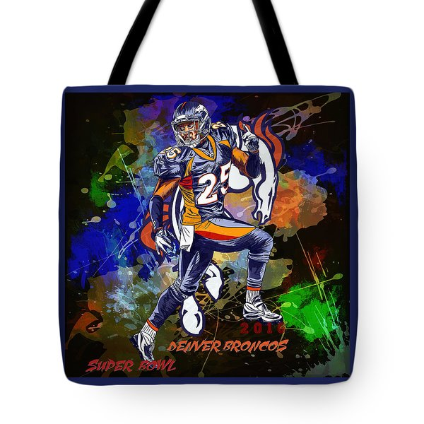 Tote Bag featuring the drawing Super Bowl 2016  by Andrzej Szczerski