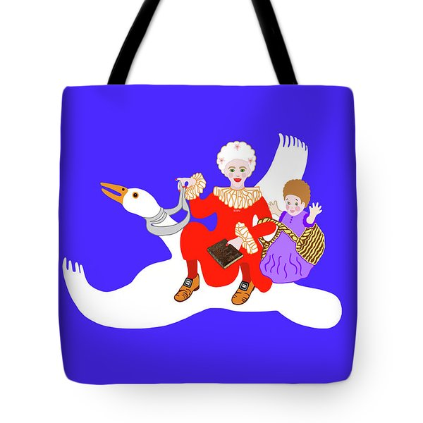 Mother Goose On Her Flying Goose Tote Bag by Marian Cates