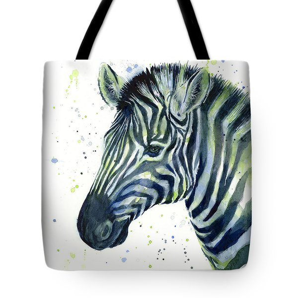 Zebra Watercolor Blue Green  Tote Bag by Olga Shvartsur