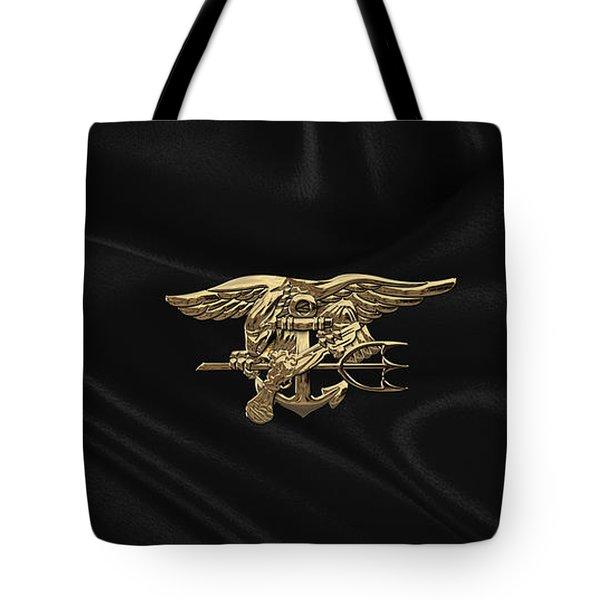 U.s. Navy Seals Trident Over Black Flag Tote Bag