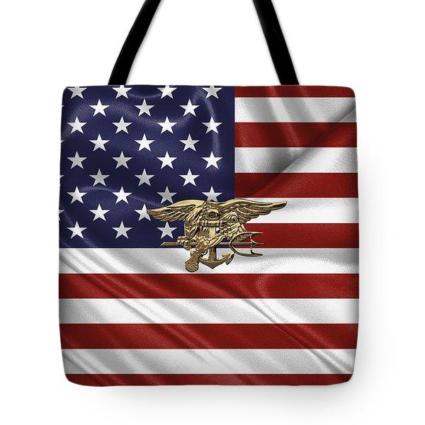 U.s. Navy Seals Trident Over U.s. Flag Tote Bag