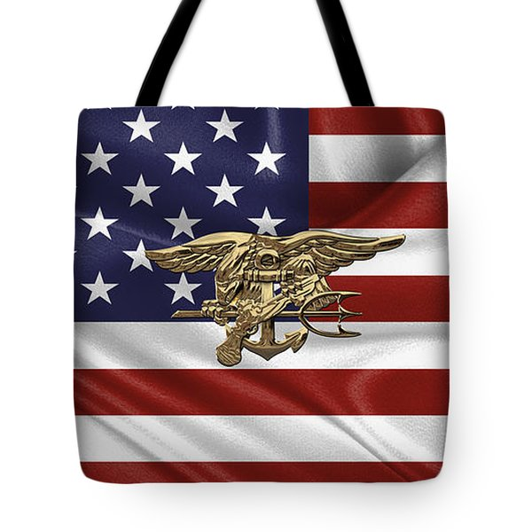 U.s. Navy Seals Trident Over U.s. Flag Tote Bag
