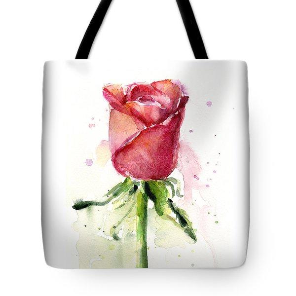Rose Watercolor Tote Bag by Olga Shvartsur