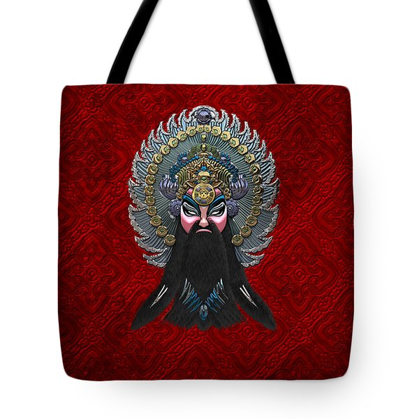 Chinese Masks - Large Masks Series - The Emperor Tote Bag by Serge Averbukh