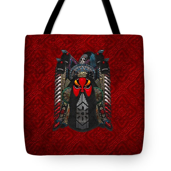 Chinese Masks - Large Masks Series - The Red Face Tote Bag by Serge Averbukh