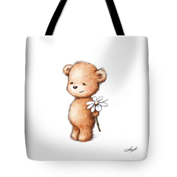 Drawing Of Teddy Bear With Daisy Tote Bag