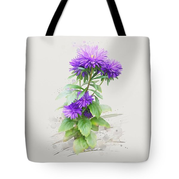 Purple Aster Tote Bag by Ivana