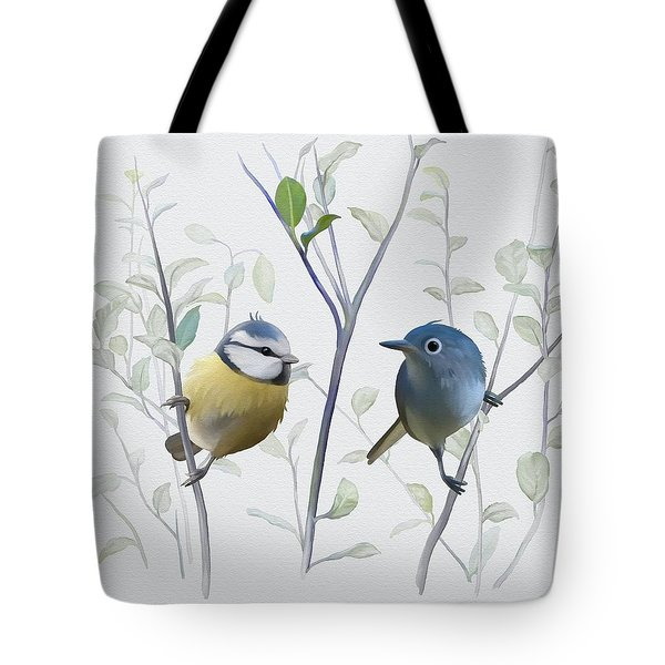 Tote Bag featuring the painting Birds In Tree by Ivana