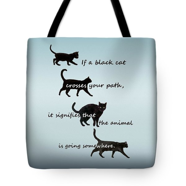 Tote Bag featuring the digital art Black Cat Crossing by Ivana Westin