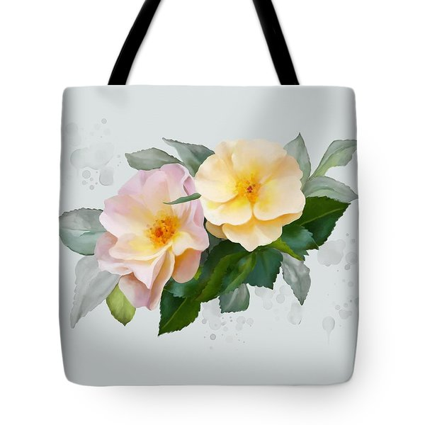 Tote Bag featuring the painting Two Wild Roses by Ivana Westin