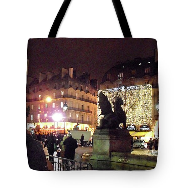 Tote Bag featuring the photograph Place Saint-michel by Felipe Adan Lerma