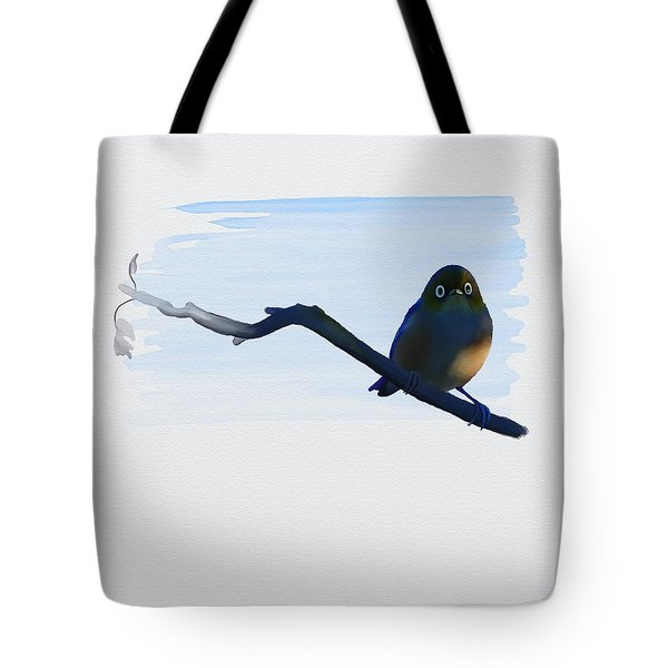 Tote Bag featuring the painting Eye To Eye With Silvereye by Ivana Westin