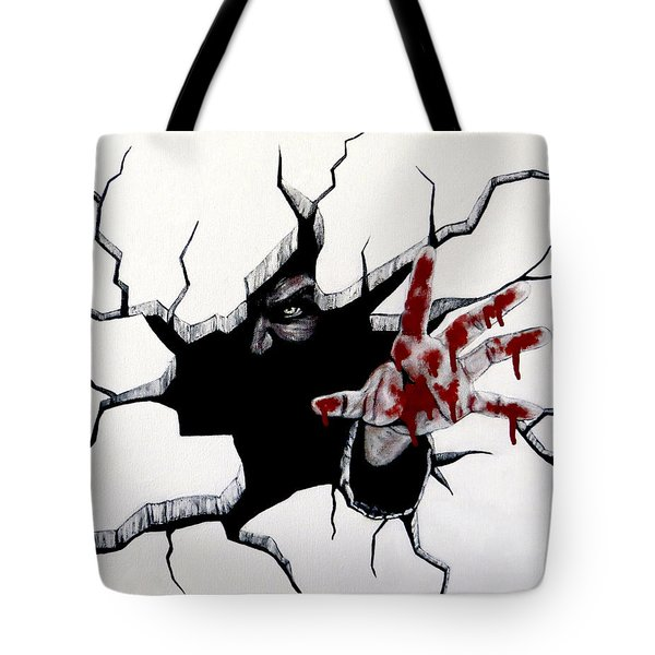 Tote Bag featuring the painting The Demon Inside by Teresa Wing