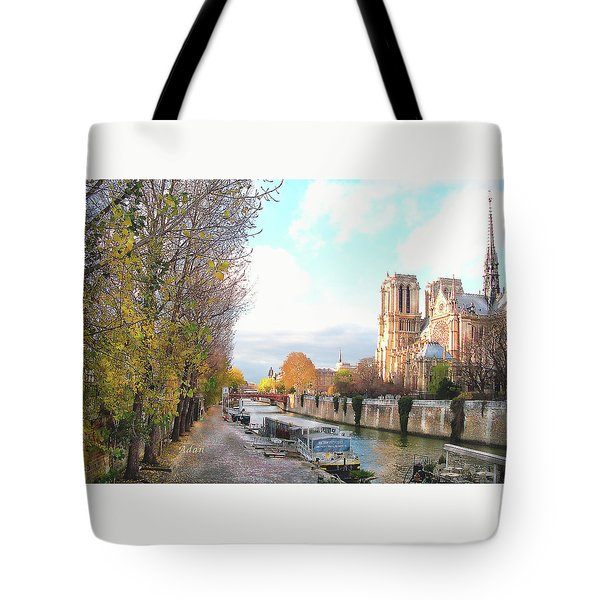 The Seine And Quay Beside Notre Dame, Autumn Tote Bag