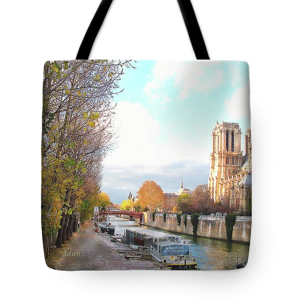 Tote Bag featuring the photograph The Seine And Quay Beside Notre Dame, Autumn by Felipe Adan Lerma
