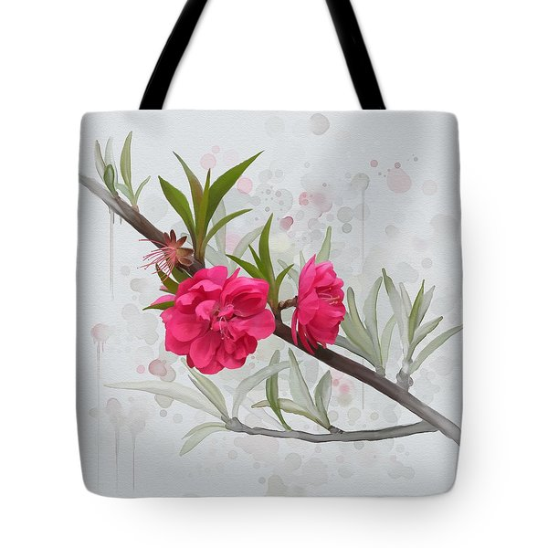 Tote Bag featuring the painting Hot Pink Blossom by Ivana Westin