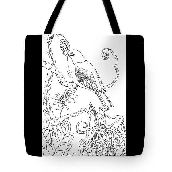 Emerson Quote Bird Nature Zentangle Art Tote Bag