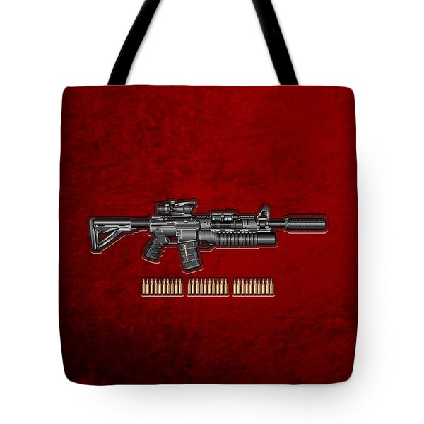 Colt  M 4 A 1  S O P M O D Carbine With 5.56 N A T O Rounds On Red Velvet  Tote Bag