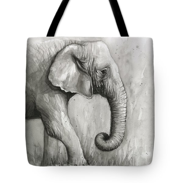 Elephant Watercolor Tote Bag by Olga Shvartsur