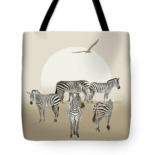 Herd Of Zebras Tote Bag
