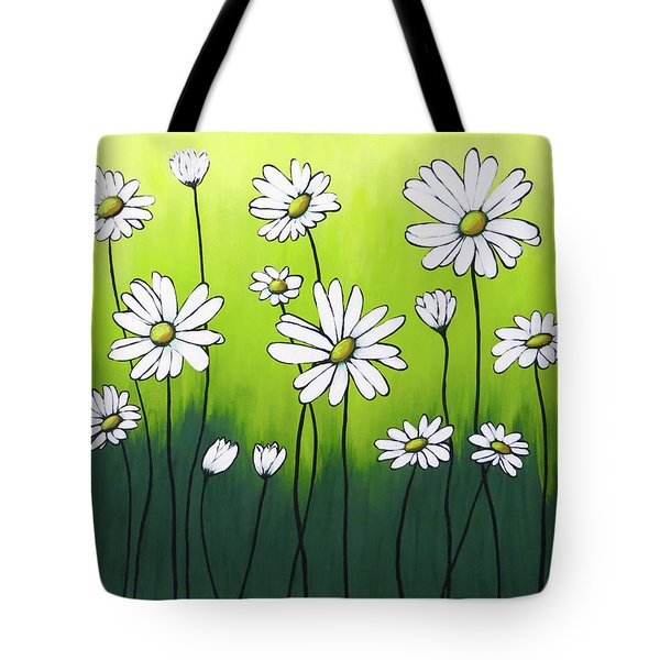 Tote Bag featuring the painting Daisy Crazy by Teresa Wing
