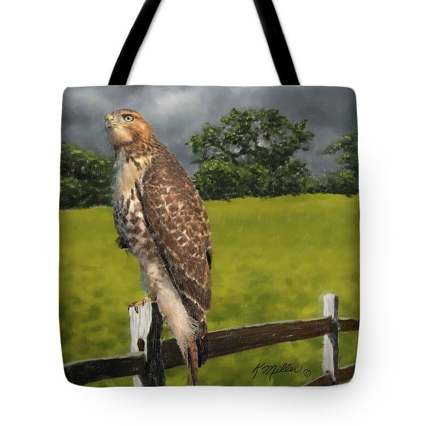 Waiting For The Storm - Red Tail Hawk Tote Bag