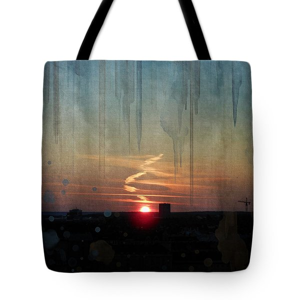 Tote Bag featuring the painting Urban Sunrise by Ivana Westin