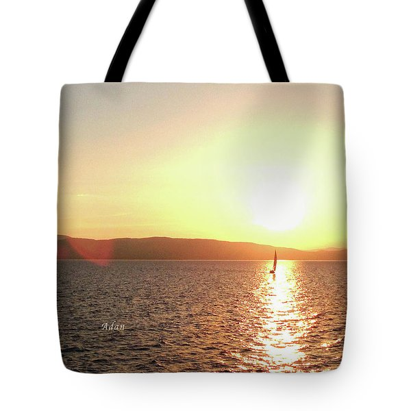 Solitary Sailboat Tote Bag by Felipe Adan Lerma