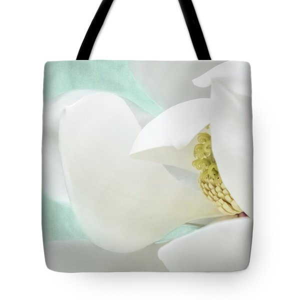 Magnolia Blossom, Soft Dreamy Romantic White Aqua Floral Tote Bag