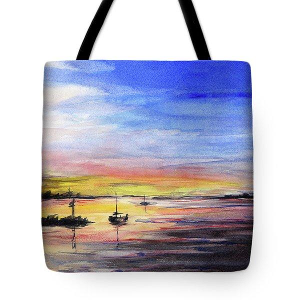 Sunset Watercolor Downtown Kirkland Tote Bag by Olga Shvartsur