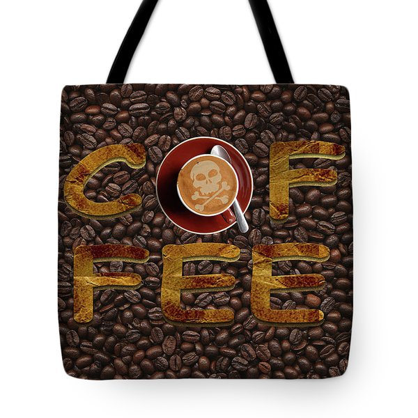 Tote Bag featuring the painting Coffee Funny Typography by Georgeta Blanaru