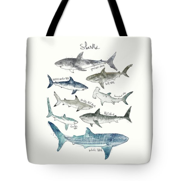 Sharks - Landscape Format Tote Bag by Amy Hamilton