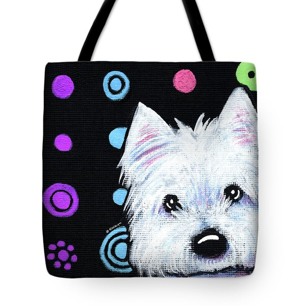 Kiniart Disco Westie Tote Bag by Kim Niles