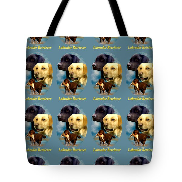 Tote Bag featuring the painting Labrador Retriever With Name Logo by Becky Herrera