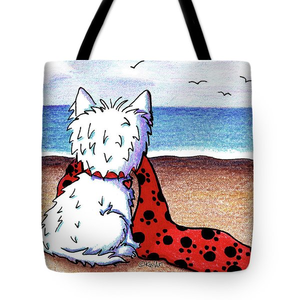 Kiniart Beach Blanket Westie Tote Bag by Kim Niles