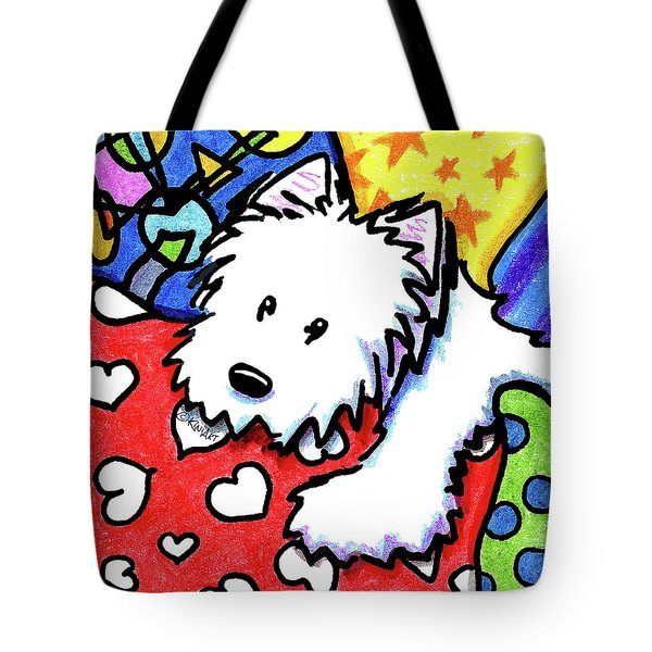 Pillow Pile Westie Tote Bag by Kim Niles