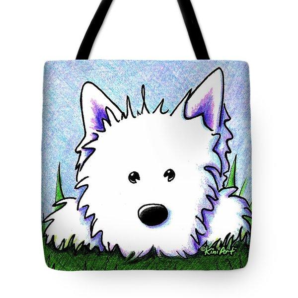 Kiniart Westie Springtime Tote Bag by Kim Niles
