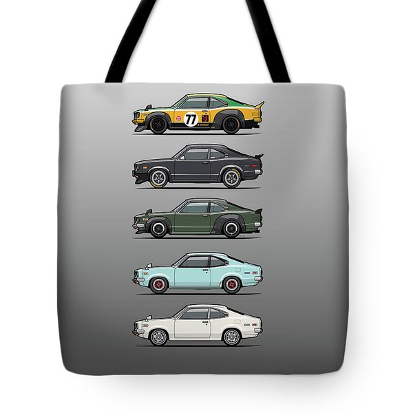 Stack Of Mazda Savanna Gt Rx-3 Coupes Tote Bag