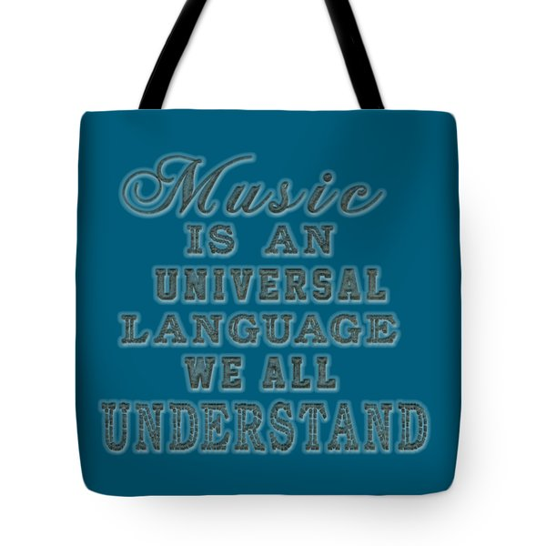 Tote Bag featuring the painting Music Is An Universal Language Typography by Georgeta Blanaru