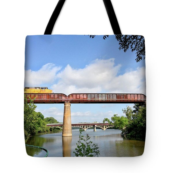 Train Across Lady Bird Lake Tote Bag by Felipe Adan Lerma