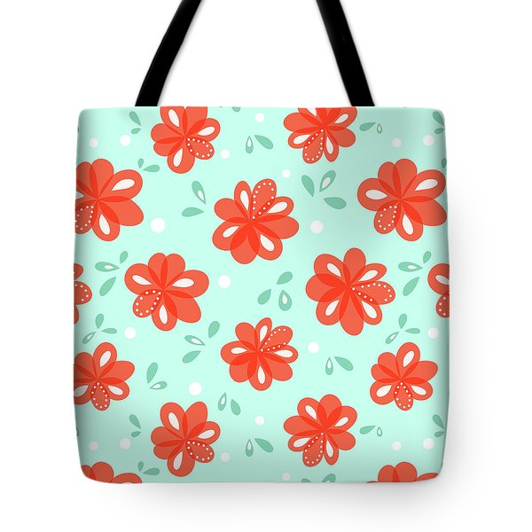 Cheerful Red Flowers Tote Bag