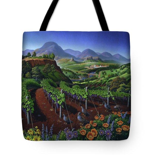 Quail Strolling Along Vineyard Wine Country Landscape - Vintage Americana Tote Bag