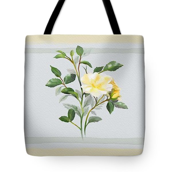 Tote Bag featuring the painting Yellow Watercolor Rose by Ivana Westin