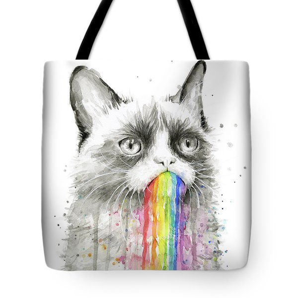 Grumpy Rainbow Cat Tote Bag