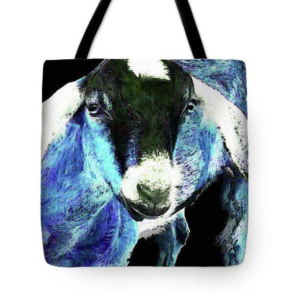 Goat Pop Art - Blue - Sharon Cummings Tote Bag by Sharon Cummings