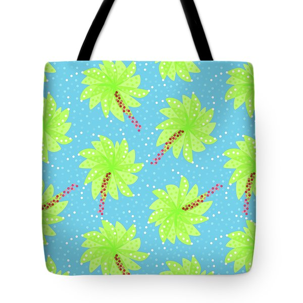 Green Flowers In The Wind Tote Bag