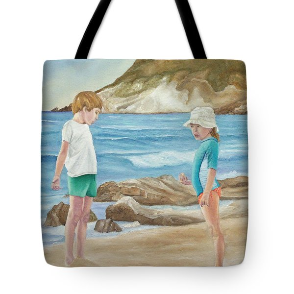 Kids Collecting Marine Shells Tote Bag