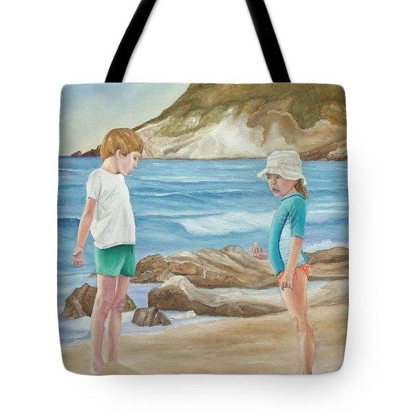 Kids Collecting Marine Shells Tote Bag