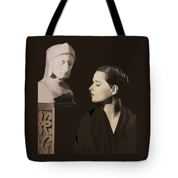 Louise Brooks With Bust Of Dante Alighieri  Tote Bag by Vintage Brooks